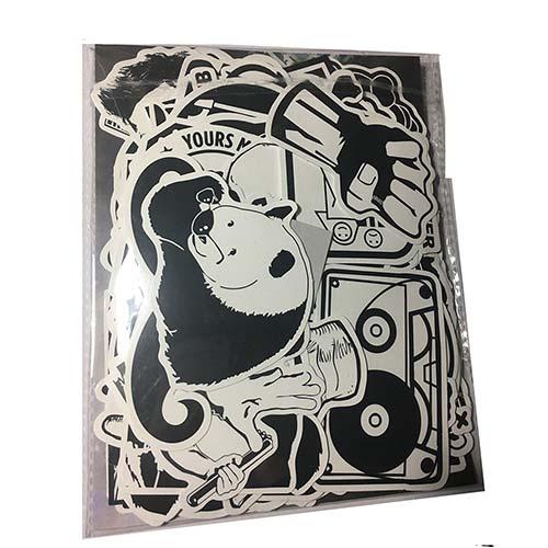 100pcs white black luggage skateboard stickers